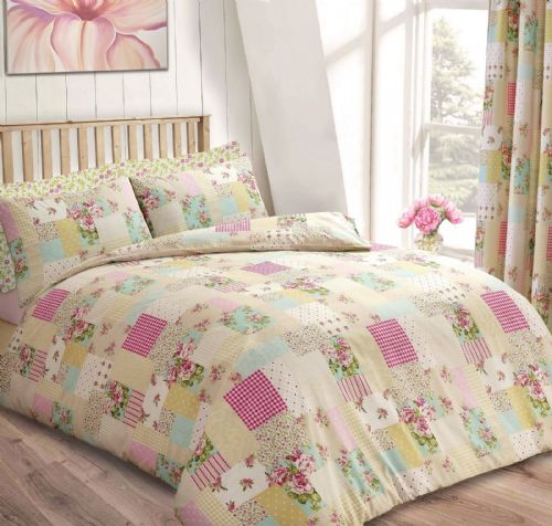 PATCHWORK SQUARE FLORAL DESIGN REVERSIBLE BEDDING DUVET COVER SET ROSE CREAM PINK